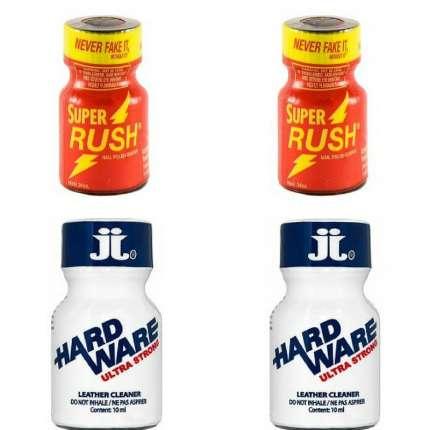 Pack 4 Unidades (2 Super Rush Vermelho + 2 Hard Ware Ultra Strong) 180059 kits e caixas de Poppers