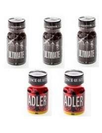 Pack 5 Units (3 Ultimate + 2 Adler), kits, and boxes of Poppers , , sexshop, sex shop online, sex shop-