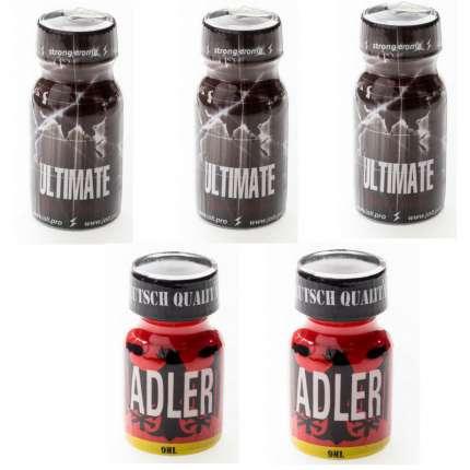 Pack 5 Unidades (3 Ultimate + 2 Adler), kits e caixas de Poppers , , sexshop, sex-shop online, sex-shop