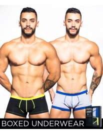 Pack 2 Boxers Andrew Christian Basix Tagless Boy Preto Cinzento Claro 600063 Andrew Christian Boxers