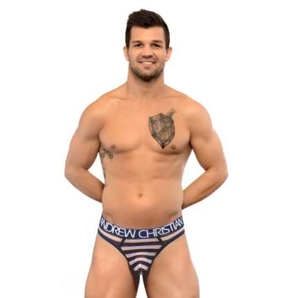 Tanga Andrew Christian Nautical Net Almost Naked Azul Marinho Branco, Andrew Christian