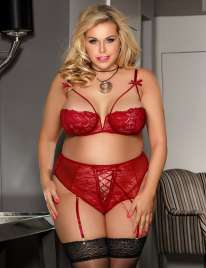 Bra Open and Pant. Red Size Large 179031