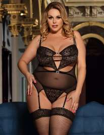 Babydoll R80426P with Garters Black Size Large,160076