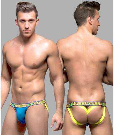 Jockstrap Andrew Christian Twerk Y-Back w/ Show-It Azul 600028 Andrew Christian Produtos Descontinuados