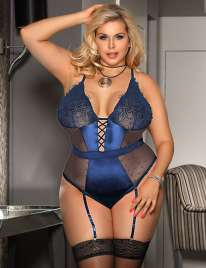 Body Lace Deluxe Lace Satin Blue Size Large