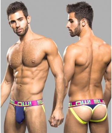Jockstrap Tanga Andrew Christian BLOW! w/ Almost Naked Azul 600015 Andrew Christian Produtos Descontinuados