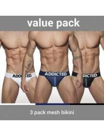 Pack 3 Cuecas Addicted Mesh Bikini Push Up,5003646