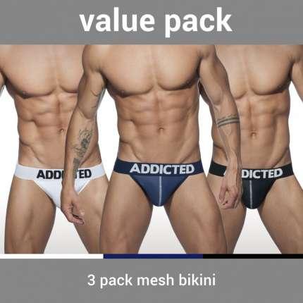 Pack 3 Cuecas Addicted Mesh Bikini Push Up 5003646