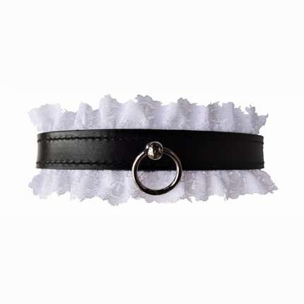Dog collar Leather with White Lace,3343820