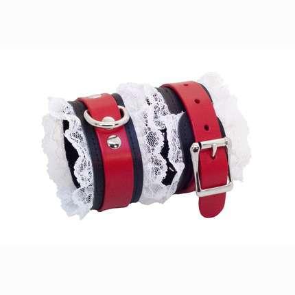 Algemas em Pele Vermelha com Renda Branca,3323827