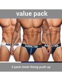 Tangas Addicted Pack 3 Unidades Mesh Push Up,5004307