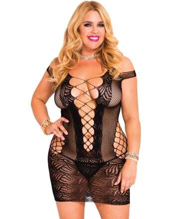 Mini Dress Mesh Hollow Black 0720030506