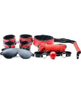 Kit BDSM Vermelho e Preto - 7 peças 030570500 Para Iniciantes