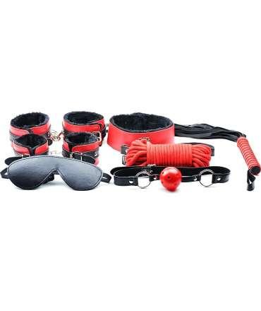 Kit BDSM Vermelho e Preto - 7 peças,030570500