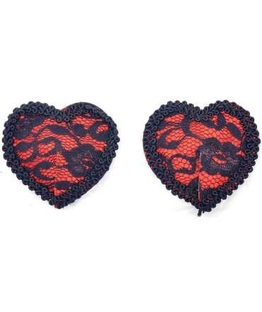 Cover Nipples Red Heart and Black Lace 194008