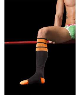Socks Barcode Neon Black Orange 134002