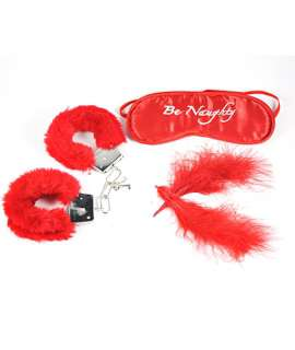 Set of Sale, Pênas and Cuffs with Fur Red 341010
