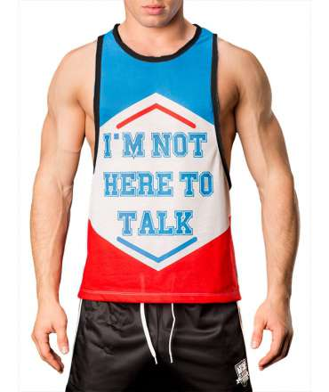 Sleeve Armhole Barcode Tank I Am Not Here To Talk 129003