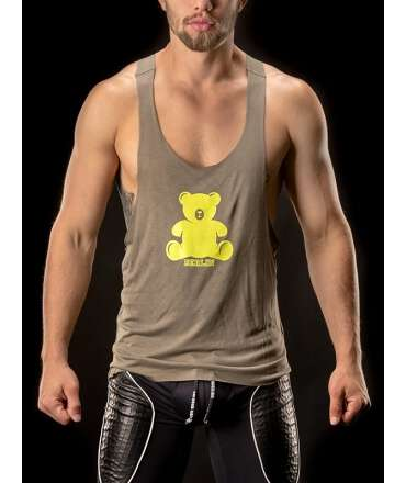 Sleeve Armhole Muscle Tank Top Bear Army 129010