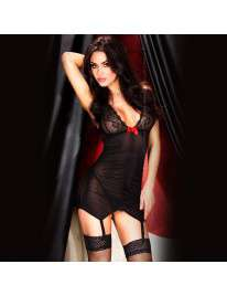 Babydoll Cups and Straps in Lace Black or Red Chilirose 160043
