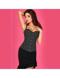 Corset Chilirose Black with White Polka dots 161058