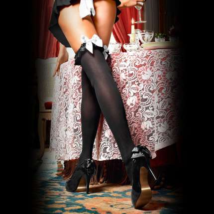Socks Turns Opaque with Frill Satin and Lace Baci 190038