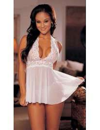 Babydoll Lace and Pink bow Tie 160021