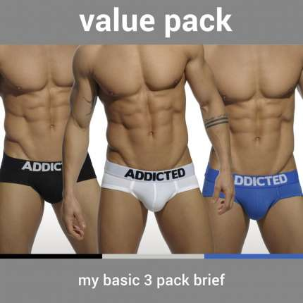 Pack 3 Cuecas Addicted My Basic Brief,500087