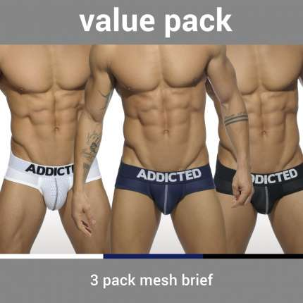 Pack 3 Cuecas Addicted Mesh Brief Push Up,500089