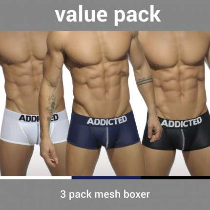 Pack 3 Boxers Addicted Mesh Boxer Push Up,500090