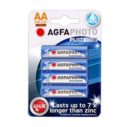 Pack 4 Pilhas Alcalinas AGFA Photo Platinum LR6 AA 1,5V,MN1500