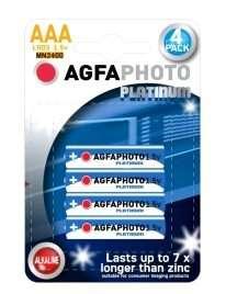Pack 4 Pilhas Alcalinas AGFA Photo Platinum LR03 AAA 1,5V MN2400  Acessórios Lover