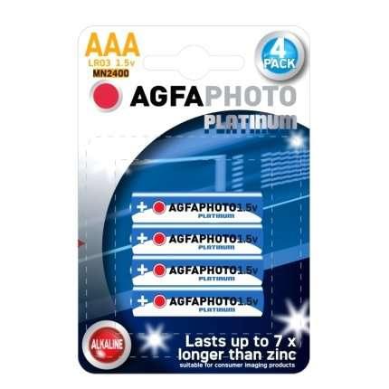 Pack 4 Pilhas Alcalinas AGFA Photo Platinum LR03 AAA 1,5V,MN2400