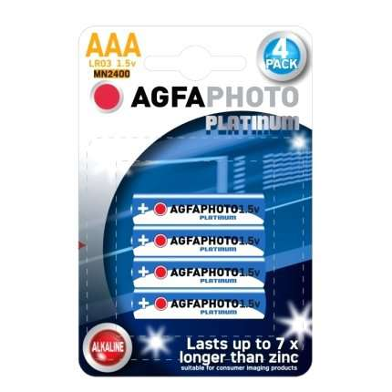 Pack 4 Pilhas Alcalinas AGFA Photo Platinum LR03 AAA 1,5V,MN2400