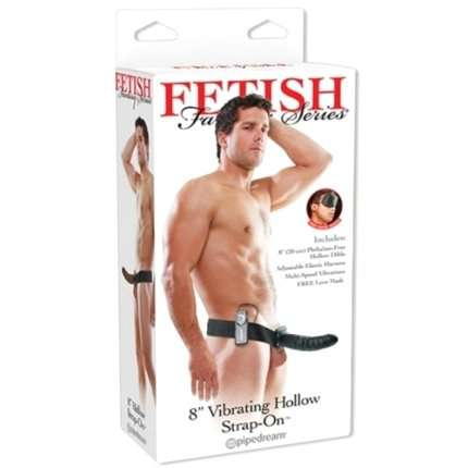 Strap-on Hollow with Vibration Vibrating Hollow Fetish Fantasy Series Black 20 cm 150010