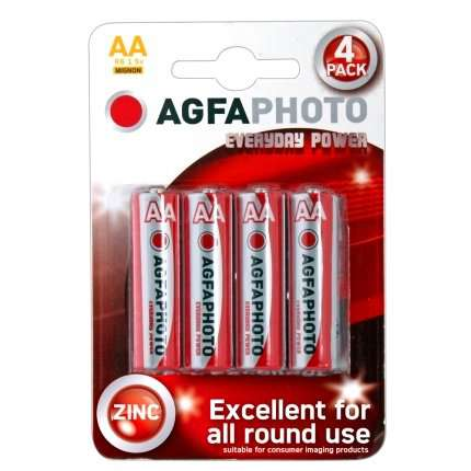 Pack 4 Batteries Zinc AGFA Photo Everyday Power R6 AA 1.5 V MIGNON