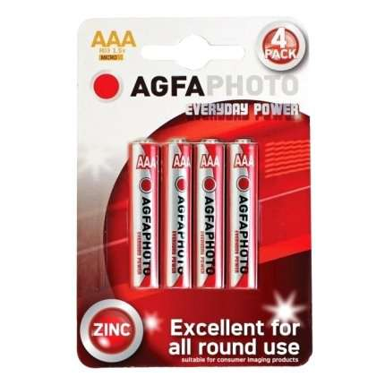 Pack 4 Batteries Zinc AGFA Photo Everyday Power R03 AAA 1.5 V MICRO