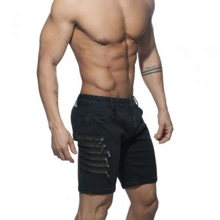 Calções Addicted Zippers Short Jeans Preto,500152