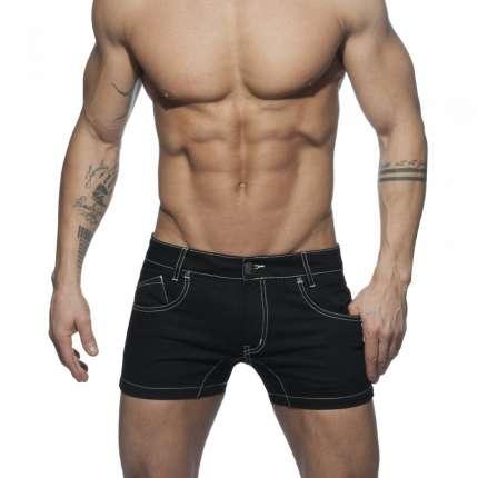 Adicta A Los Shorts De La Tela Cruzada Short De Color Negro,500158