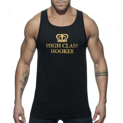 Sleeve Armhole Addicted High Class Hooker Tank Top Black 500164