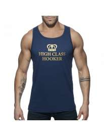 Sleeve Armhole Addicted High Class Hooker Tank Top Navy Blue 500165