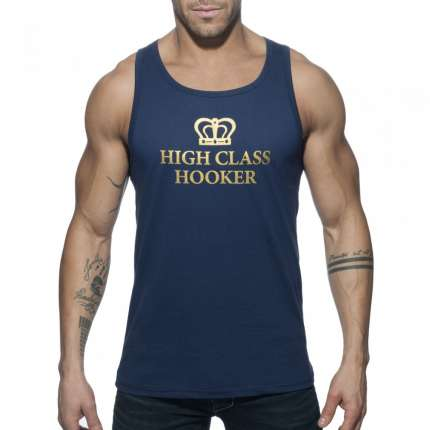 Manga Cava Addicted High Class Hooker Tank Top Azul Marinho,500165