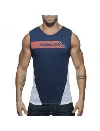 Sleeve Armhole Addicted Tank Top Navy Blue 500178