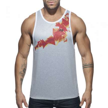 Manga Cava Addicted Geoback Tank Top Branco,500179