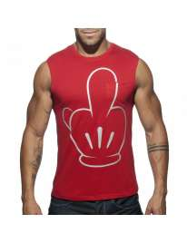 Sleeve Armhole Addicted Fuck Tank Top Red 500183