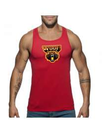Sleeve Armhole Addicted Woof Tank Top Red 500186