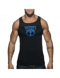Manga Cava Addicted Woof Tank Top Preto,500184