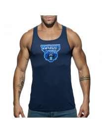 Sleeve Armhole Addicted Woof Tank Top Navy Blue 500185