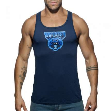 Sleeve Armhole Addicted Woof Tank Top Navy Blue 500185