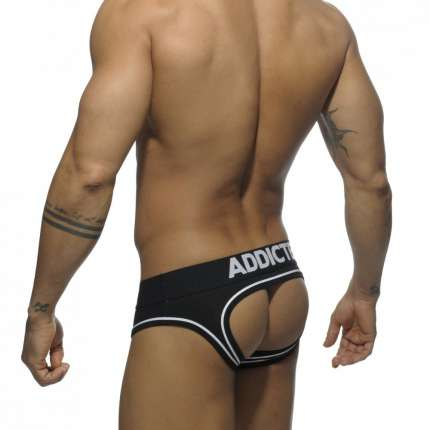 Cueca Addicted Double Piping Bottomless Brief Preto,500204
